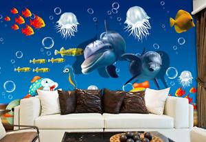 3D Jellyfish Dolphin Sea 0272 Wall Paper Wall Print Decal Wall AJ WALLPAPER CA