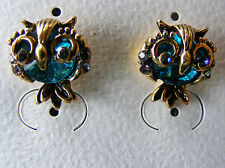 Hoot Owl Blue Green Crystal Gold tone Pierced Stud Earrings Women Kids Teens NEW