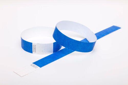 """10 Uni Bleu Royal 1/"""" Tyvek Papier Bracelets pour événements festivals Fêtes"""