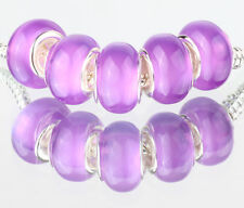 5PCS SILVER MURANO Cat's Eye BEAD Fit European Charm Bracelet Making B#488