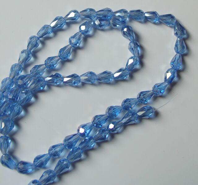 30 Kristallperlen 7*5mm Tropfen Teardrops geschliffen galvanisiert AB glas beads