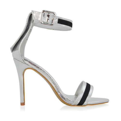 Womens Ankle Strap Stiletto Heel Sandals Ladies Thready Detail Party Prom Shoes