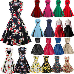 Women-50s-60s-Vintage-Rockabilly-Pinup-Swing-Floral-Cocktail-Evening-Party-Dress