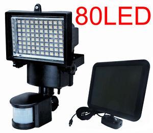 80 led solar powered motion sensor security flood light outdoor lights. Black Bedroom Furniture Sets. Home Design Ideas
