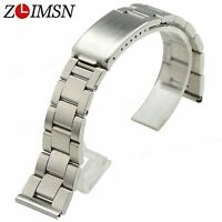 Watch Band Strap Pure Stainless Steel Solid Brushed Silver Bracelet 18mm 20mm