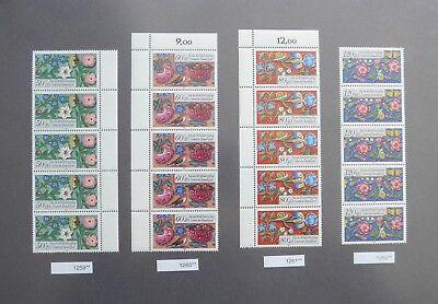 (2459.6) Brd 1985 - Wohlfahrt Miniaturen - 4x 5-er Streifen - Mi.nr. 1259-1262** Eine Hohe Bewunderung Gewinnen