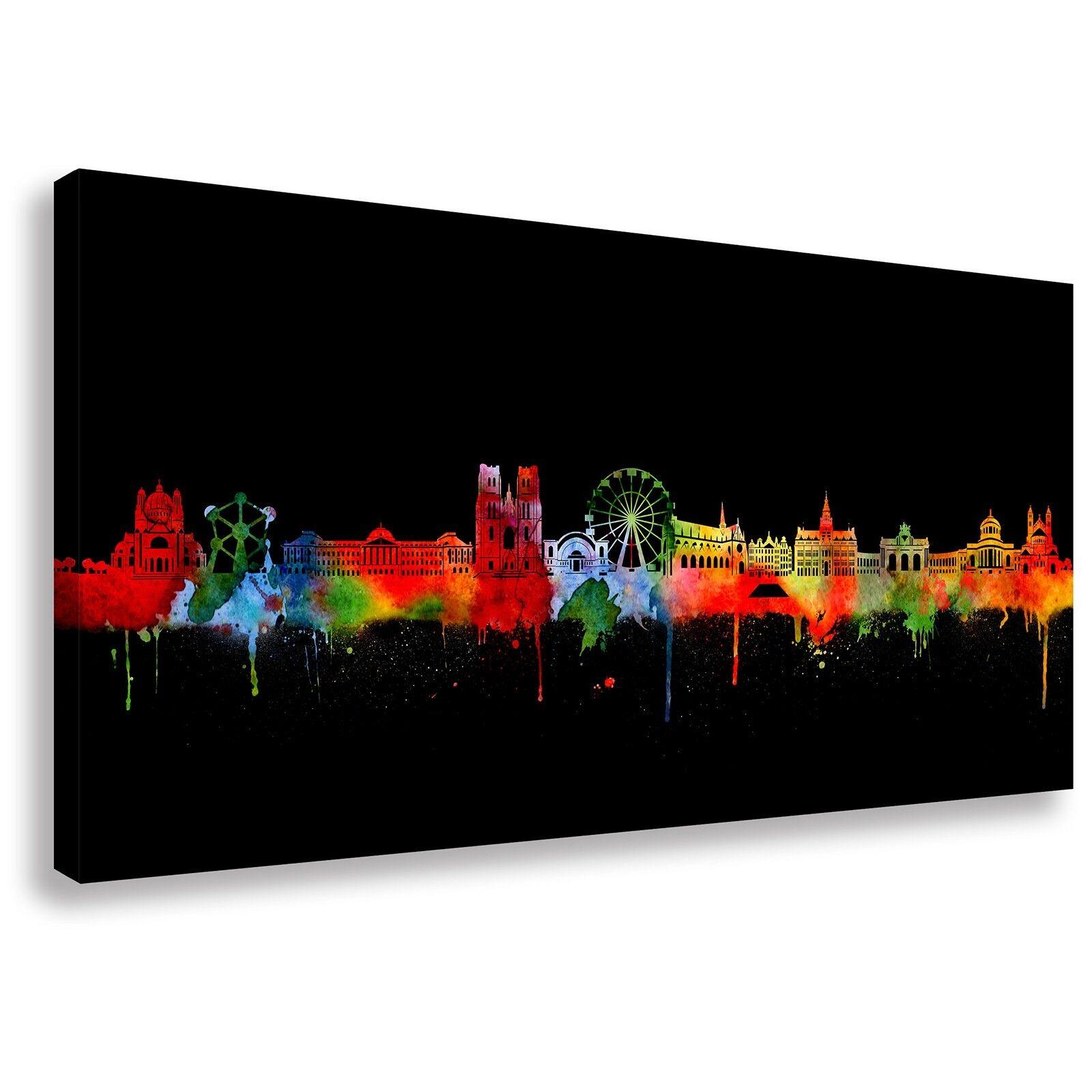 Panorama Wandbild von Brüssel Skyline Neon Kunstdruck Leinwand (div.Größen)