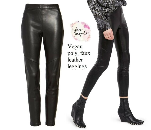1cedbca2d8eccc Free People women's Vegan black faux leather poly legging elastic waist, ...