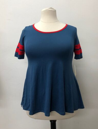 LuLaRoe Blue Perfect Scoop Raglan Stretch T-Shirt Red Stripes Top Soft Blend new