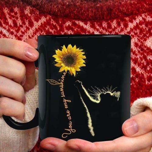 Ceramic Coffee Mug Made in US Cat Sunflower You are My Sunshine Mug Black 11 oz