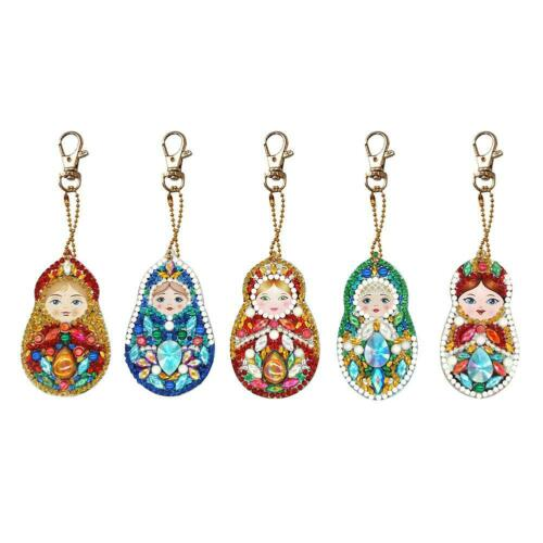 5pcs DIY Baby Doll Full Drill Special Shaped Diamond Painting Keychain Gift C#P5