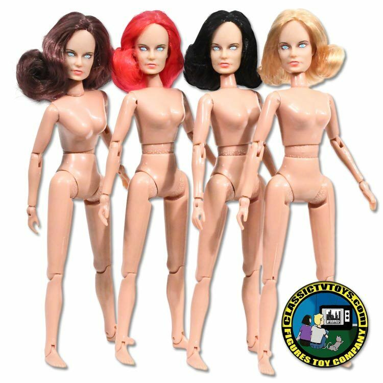 Set of 4 Female Rooted Hair Roto Molded Heads with bodiesfor 8 inch Mego figures
