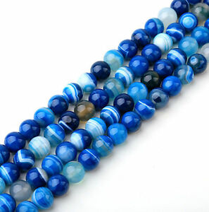 Wholesale-Natural-Blue-Striped-Agate-Stone-Round-Spacer-Loose-Beads-4-6-8-10MM