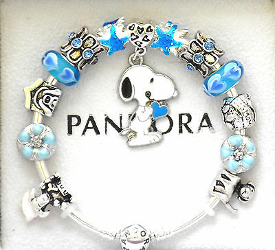 cb1b6308a4185 Authentic PANDORA Silver Charm Bracelet and European Charms Blue Snoopy Dog  | eBay