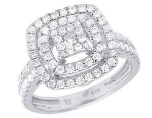 Mujer-14K-Oro-Blanco-Diamante-Original-Conjunto-Cuadrado-Anillo-de-Compromiso-1
