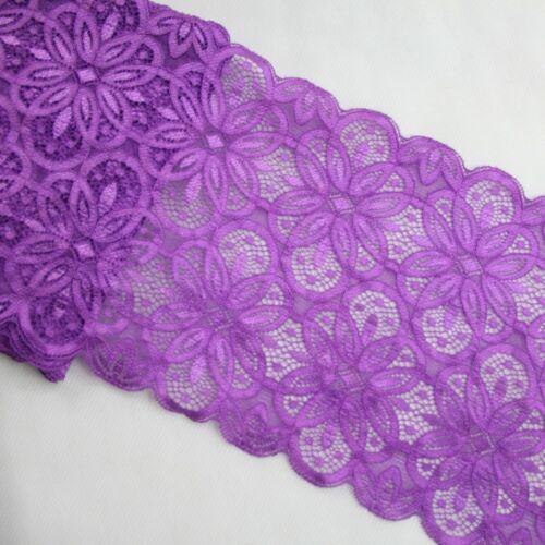 5 10Yards 18cm Floral Elastic Stretch Lace Fabric Ribbon Trim Sewing Dress Skirt