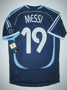 watch f6d01 29e3a Details about New 2006-2008 World Cup Adidas Argentina Lionel Messi #19 Kit  Shirt Jersey Away