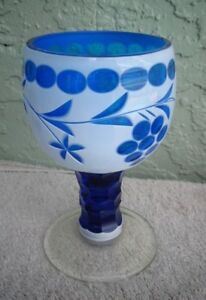 Bohemia-Glass-OVERLAY-White-Cut-to-Blue-GOBLET-Chalice-Grapes-Faceted-Stem