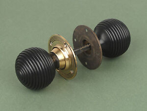 Pair Of Solid Ebony Beehive Door Knobs / Handles With Solid Brass Backplate