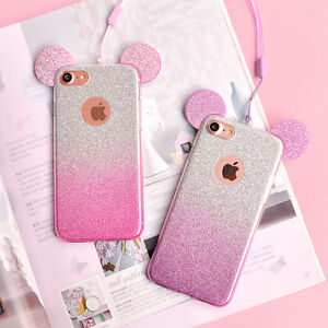 the latest 93b1b 2ffe2 Details about Glittery Ears Mickey Minnie Mouse Disney Phone Case/Cover +  Strap For iPhone UK!