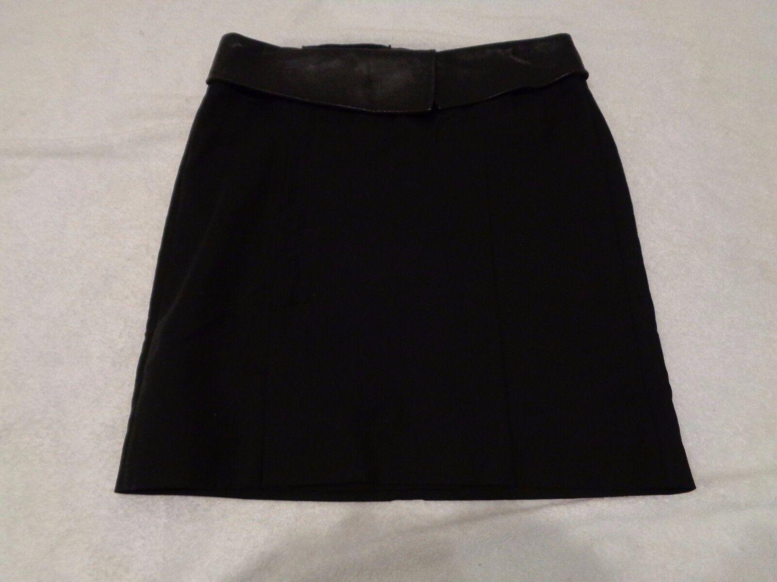 Cordero De Cuero  Negro Alexander Wang-mezcla de algodón y recortado Falda  355 Talla 4-usado en excelente estado   lo último