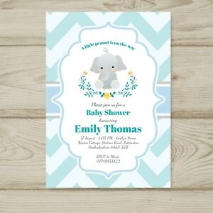Elephant Girl Or Boy Pink Or Blue Baby Shower Invitations