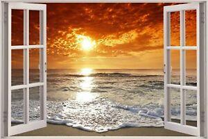 Huge-3D-Window-view-Exotic-Ocean-Beach-Wall-Sticker-Film-Art-Decal-Wallpaper-S84