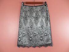 SK07114- ANN TAYLOR Woman Cotton Nylon Lace Pencil Skirt Black Silver Floral 0P