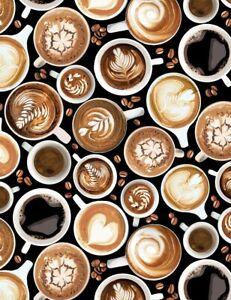 Timeless Treasures BLACK cotton fabric coffee cup toss beans BTHY half yard