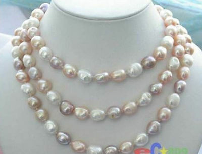"NEW long 42 ""8-9mm baroque multicolor freshwater pearl necklace AAA"