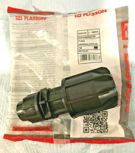 27mm 25mm poly to 20-27mm pipe Plasson Plass4 Universal Coupling 25mm x 20mm