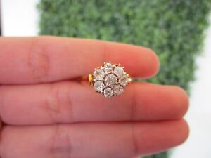 4.00 Carat Face Illusion Diamond Yellow Gold Ring 12k R102 sep