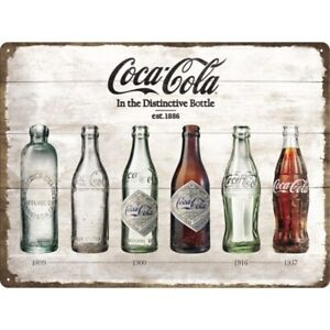 Tin Sign Coca Cola Bottle Timeline, Nostalgia Sign 40 CM , New, Metal Shield