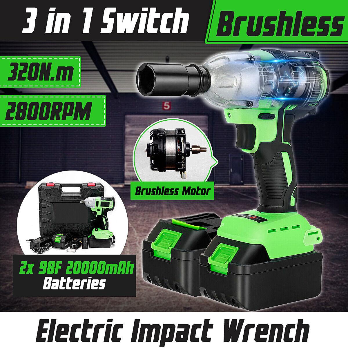 10000mAh 520N.m Cordless 1//2/'/' Brushless Electric Impact Wrench Gun 2x Battery