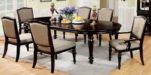 Harrinton Dining Room Furniture Set in Dark Walnut w/ 6 Chairs Dining Table Set