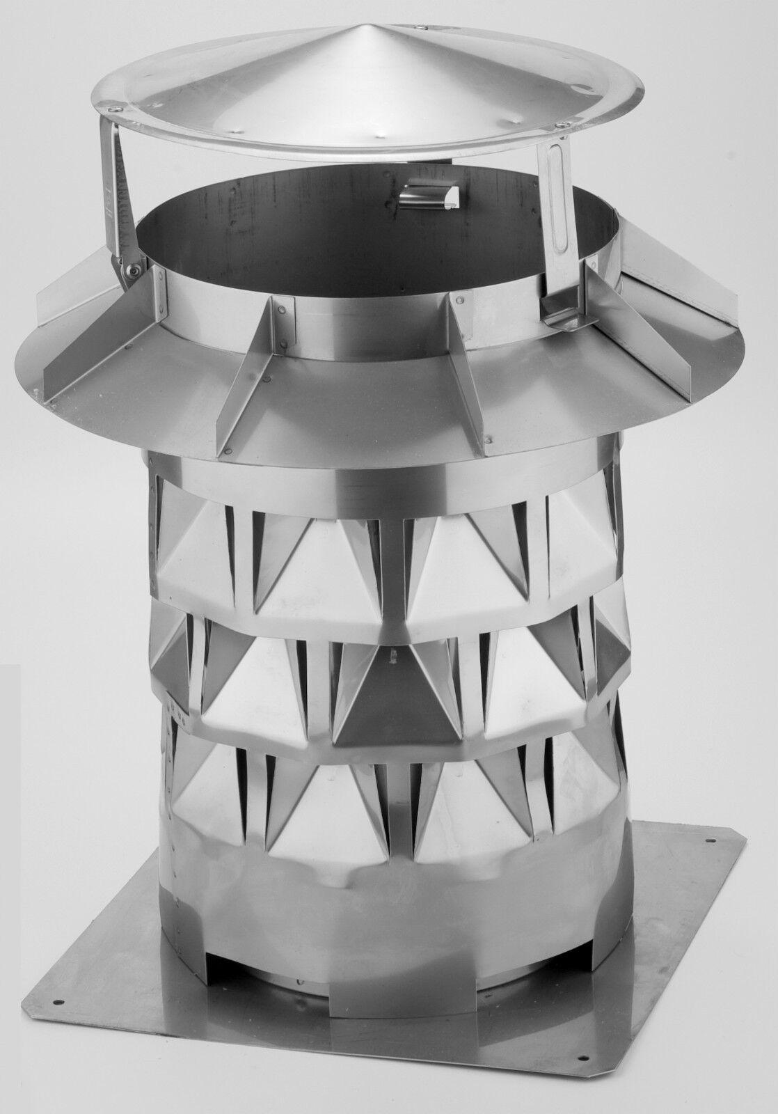 Kaminaufsatz WINDKAT mit Grundplatte - Ø 200 mm Das Original mit TÜV-Zertifikat