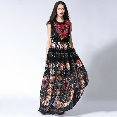 PGM16 Women Designer Inspired Floral Print Pleated Maxi Summer Dress PLUS SIZE