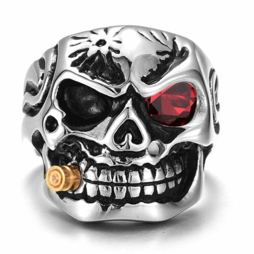 Skull Smoking Cigar Head Finger Ring For Men Zinc Alloy Biker Punk Accessories