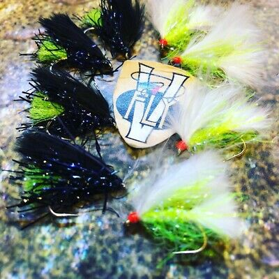 3 V Fly Size 10 Barbless Ultimate Hot Legs Flexi White /& Orange Cat Trout Flies