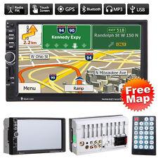 "GPS Navi 7"" Double 2 DIN Car Stereo MP5 Player FM USB SD TF Bluetooth Radio +Map"