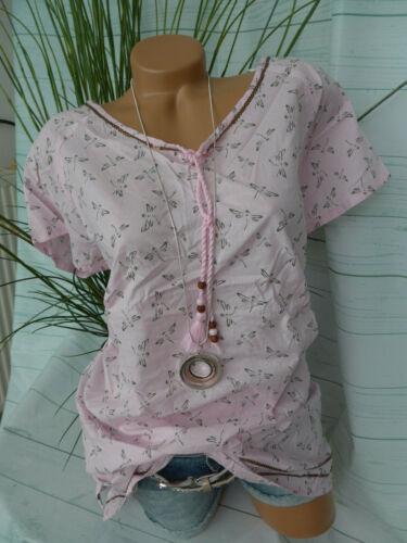 Sheego Bluse Shirt Kurzarm Damen Gr 506 46 bis 48 rosa Muster Pailletten NEU