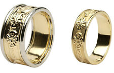 Pair Irish Handcrafted Celtic Cross Ring Wedding Set 14k Yellow white gold bands