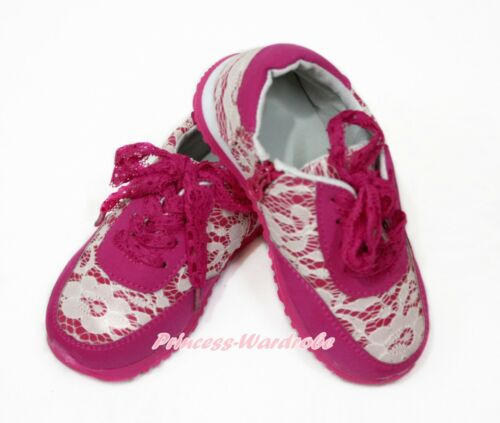 Kids Girl Hot Pink Lacing White Lace Sport Casual School Zip Sneakers Shoes A1