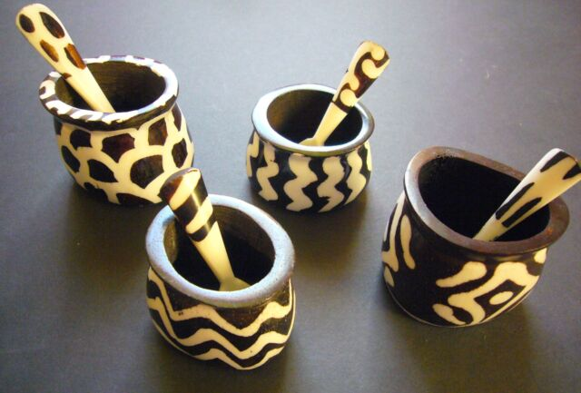 African Tableware - Fairtrade Salt Mustard Pot & Spoon.