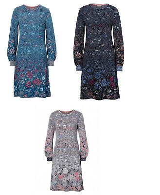 IVKO Kleid Dress Floral Pattern Marine Wolle grau ...