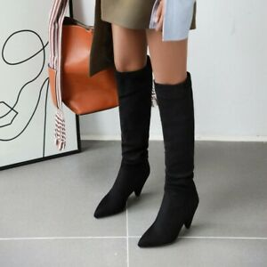Punk Women High Heels Knee Boots Pointy Toe Evening Party Bootie Clubwear Shoes