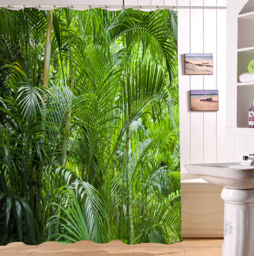 "Tropical Rainforest Palm Leaves 72/"" Shower Curtain Bathroom Mat Waterpoof Fabric"