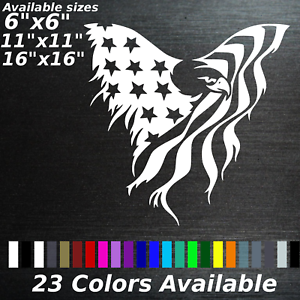 American Flag Eagle Decal Tattered Sticker Americana Freedom Usa