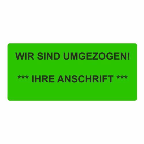 """Wunschtext/"""" 56 x 25 mm 1000 Etiketten//Aufkleber /""""Wir sind umgezogen inkl"""