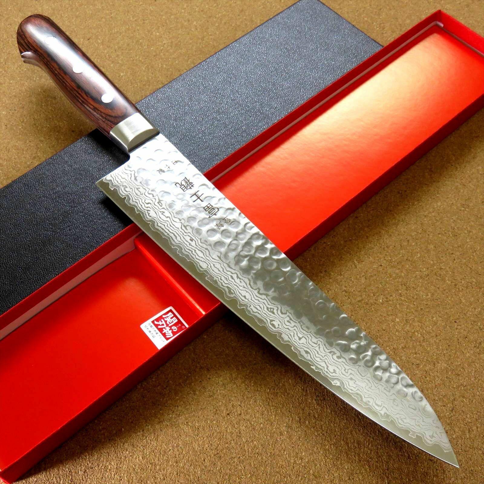 Japonais FUJIMI Cuisine Chef Couteau 9  marteau forgé VG-10 Damas du Japon